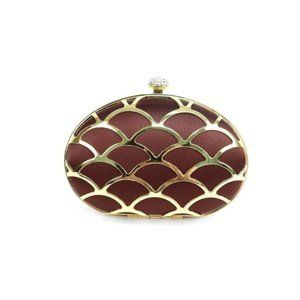 seleni Bags - Crystal Embellished Clasp Clutch